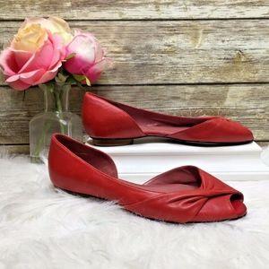 Tahari Concert Red Leather Peep Toe Flats